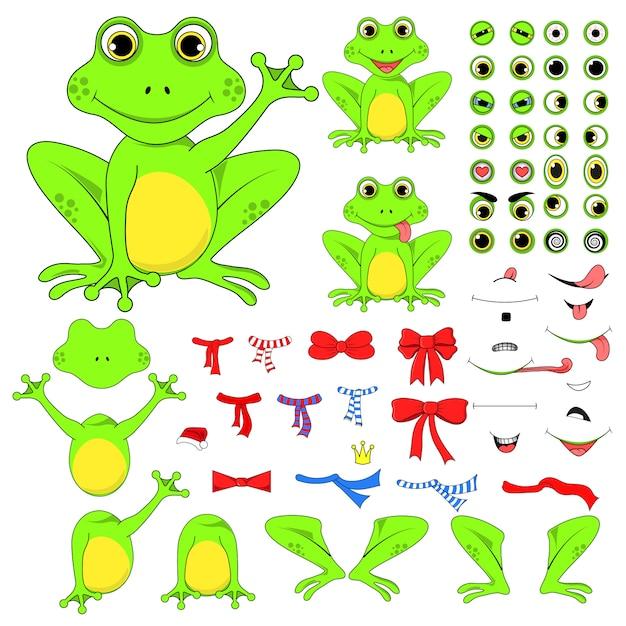 Frogs set of body parts Premium Vector