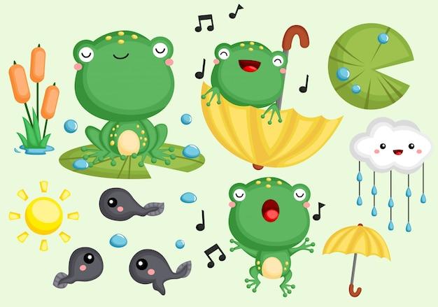 Frogs set Premium Vector