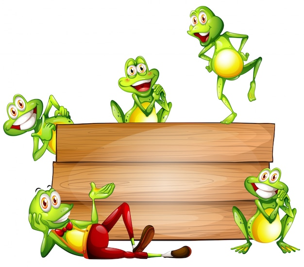 Frogs and sign Free Vector