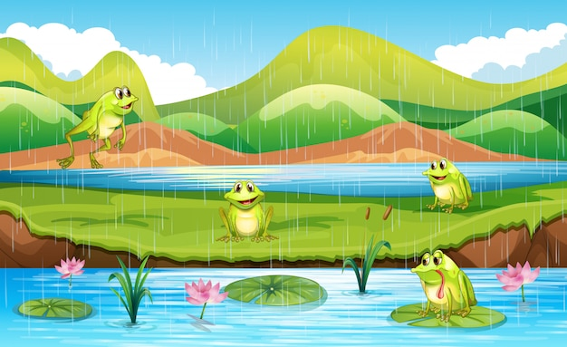 Frogs with pond scene Free Vector