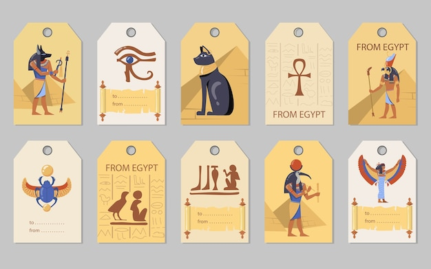 From egypt tags set. egyptian pyramids, cats, gods, scarab vector illustrations with space for text. templates for greeting cards, postcards, labels Free Vector