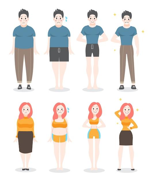 지방에서 맞는 개념으로. 비만인 여성과 남성은 체중을 잃습니다. 슬리밍 진행, 피트니스 운동. 삽화 프리미엄 벡터