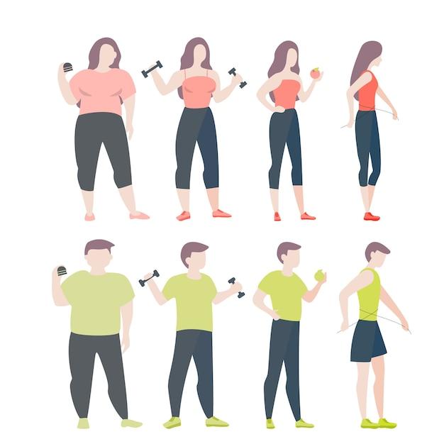 От жирной к подходящей концепции. женщина и мужчина с ожирением Premium векторы