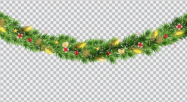 広いクリスマスボーダーガーランドfromfモミの枝、ボール、松ぼっくり、その他の装飾品、透明な背景に分離 Premiumベクター