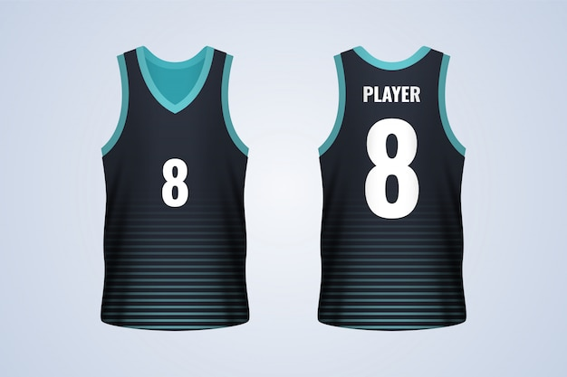 Front and back black with blue strips basketball jersey template Premium Vector