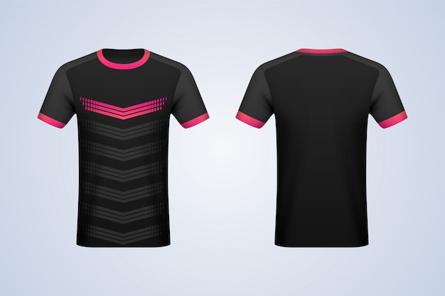 Front and back black with strips jersey mockup Premium Vector