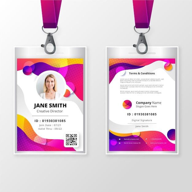 Free Vector Front And Back Id Badge Template With Picture