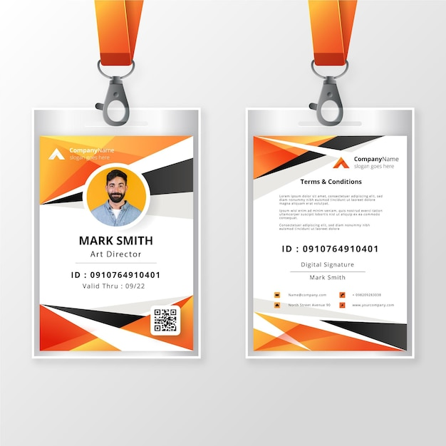 Free Vector Front And Back Id Badge Template