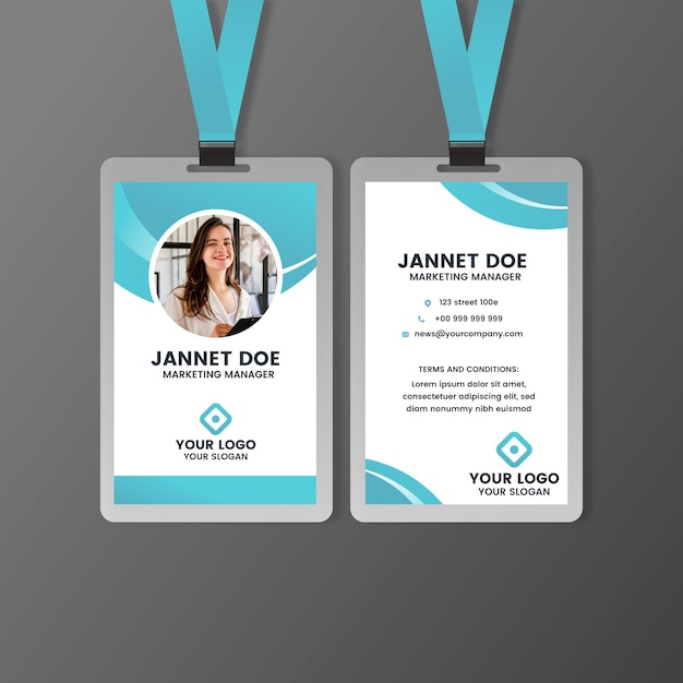 Front and back id card template with photo Premium Vector
