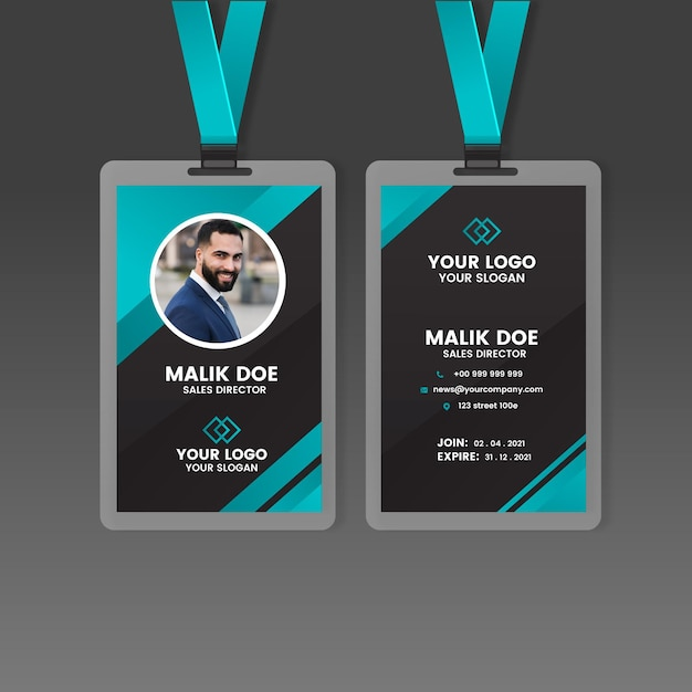 Front and back id card template Free Vector