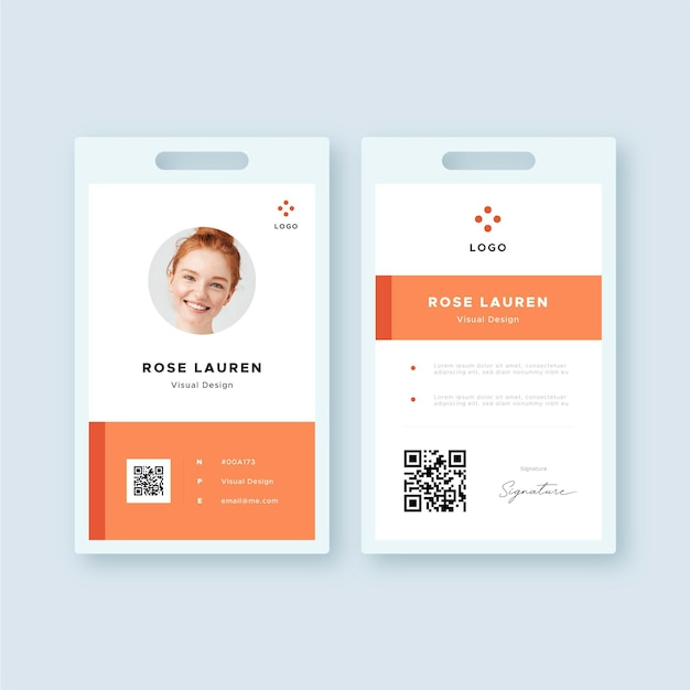 Front and back minimal id card template Premium Vector