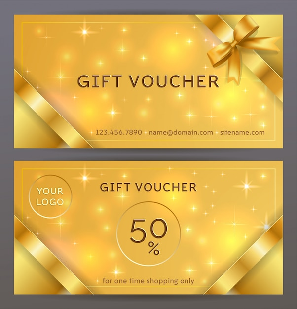 Front and back sides of luxury gift voucher with golden ribbons, bows. isolated elegant sparkling, shining template for holiday gift card, coupon and certificate Premium Vector