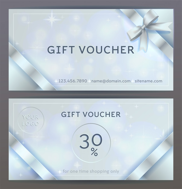 Front and back sides of luxury gift voucher with silver ribbons, bows. isolated elegant sparkling, shining template Premium Vector