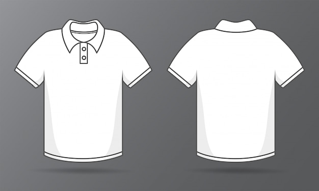 Front and back templates simple white t-shirt for shirt design. Premium Vector