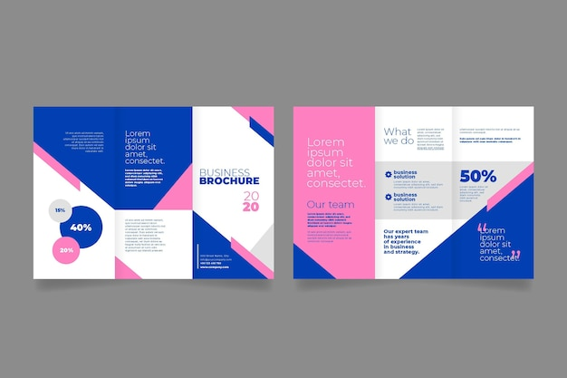 Front and back trifold brochure Free Vector