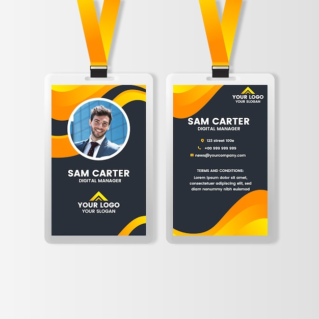 Front and back vertical id card with photo Premium Vector