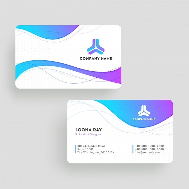 Front and back view of business card template or visiting card design Premium Vector