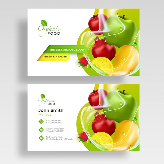 Front and back view of fruits business card Premium Vector