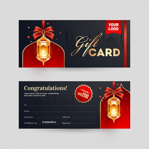 Front and back view of gift card or coupon, voucher layout with Premium Vector