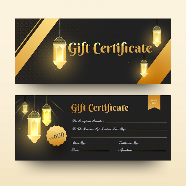 Front and back view of gift certificate or horizontal template d Premium Vector