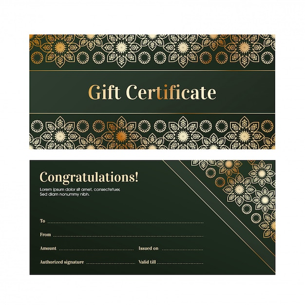 Front and back view of green gift certificate or voucher layout. Premium Vector