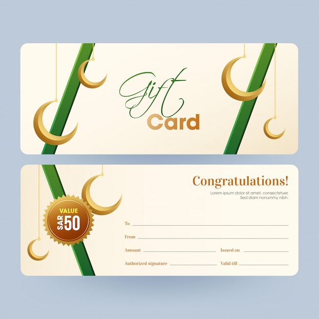 Front and back view of horizontal gift card or voucher layout wi Premium Vector