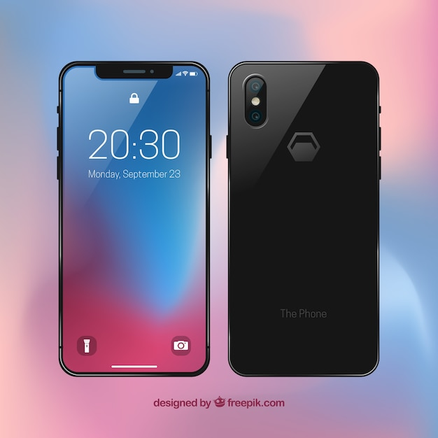Front and back view of mobile phone Free Vector