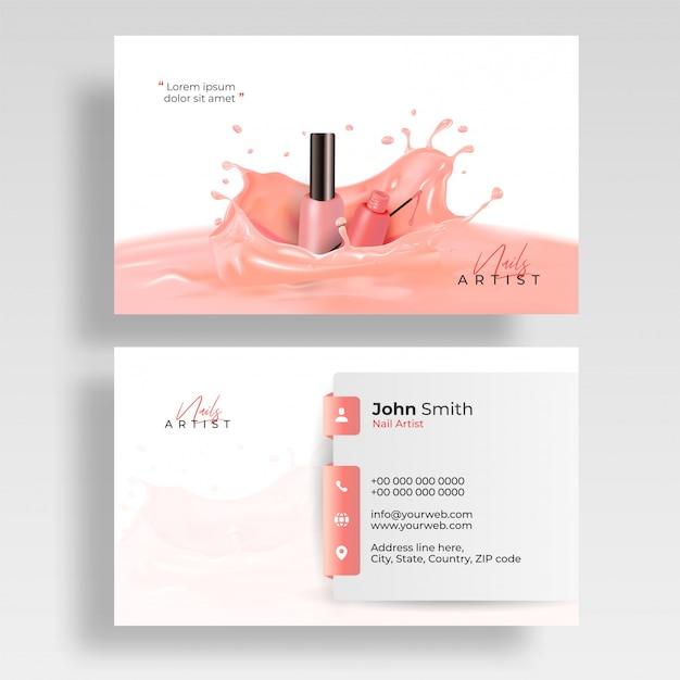 Front and back view of nail artist visiting card design Premium Vector