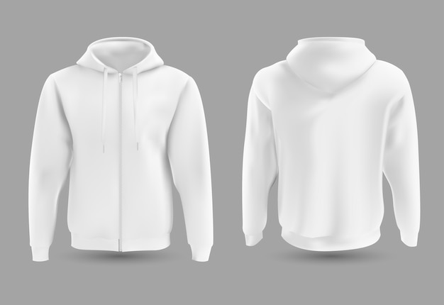 Front and back white hoodie. Premium Vector