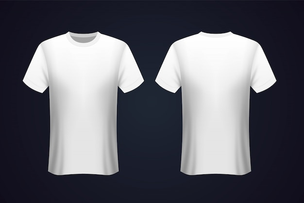 Front and back white t-shirt mockup Premium Vector