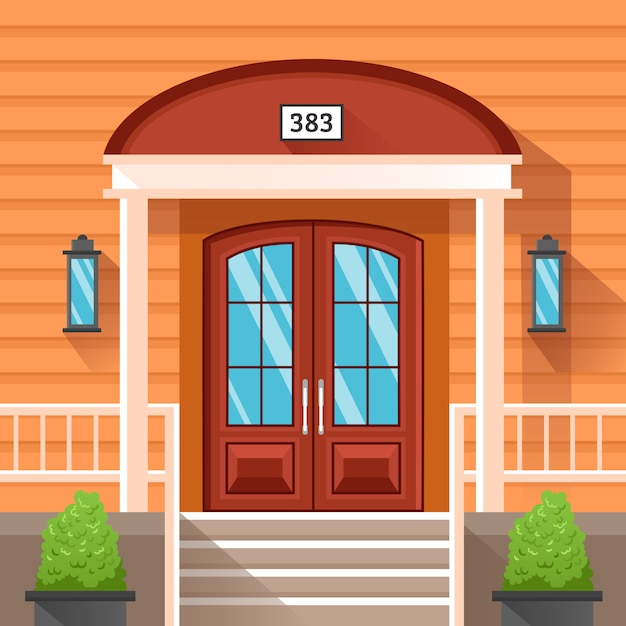 Front door of house decorated by siding Free Vector