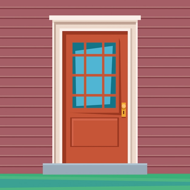Front door house entrace icon Free Vector