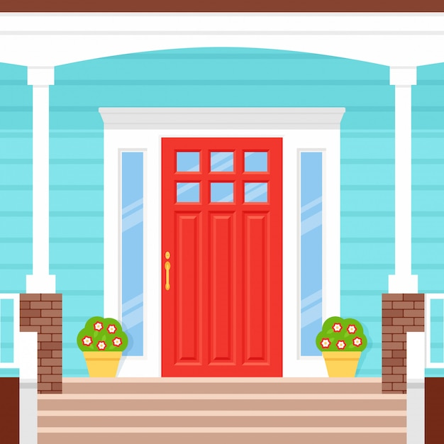 Front Door, Porch House. Illustration. Facade In Flat