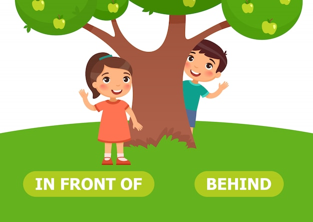 Behind and in front of illustration. Premium Vector
