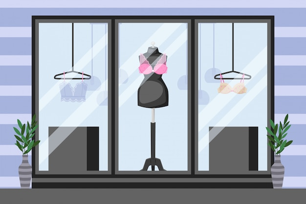 Front showcase underwear storefront,  illustration. mannequin with lace bra, thin clothes on hanger. vases near windows Premium Vector