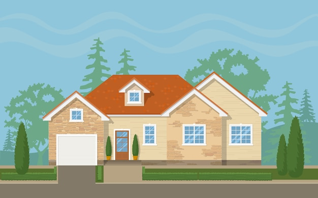 Front of traditional suburban house Premium Vector