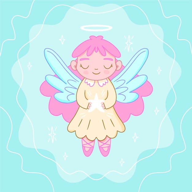 Front view angel with violet wings merry christmas Free Vector
