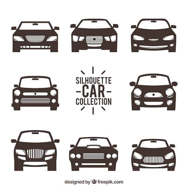 Front view of car silhouettes Free Vector