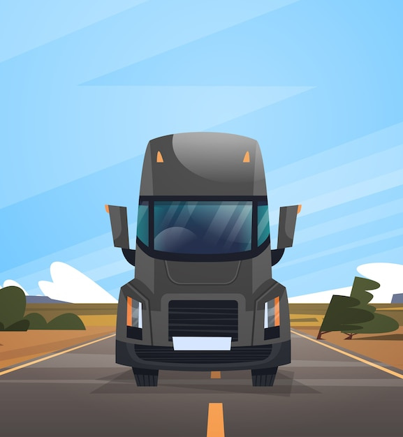 Front view of cargo truck trailer driving on coutryside road over blue sky landscape Premium Vector