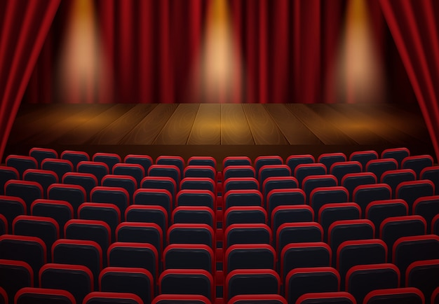 Front view of cinema. toned image. mock up, ad concept Premium Vector