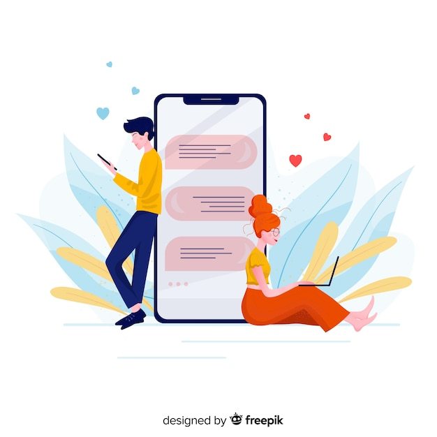 Front view of dating app concept Free Vector