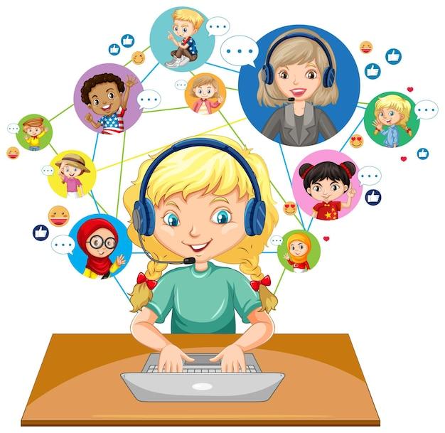 Vista frontale di una ragazza che utilizza computer portatile per comunicare la videoconferenza con insegnante e amici su priorità bassa bianca Vettore gratuito