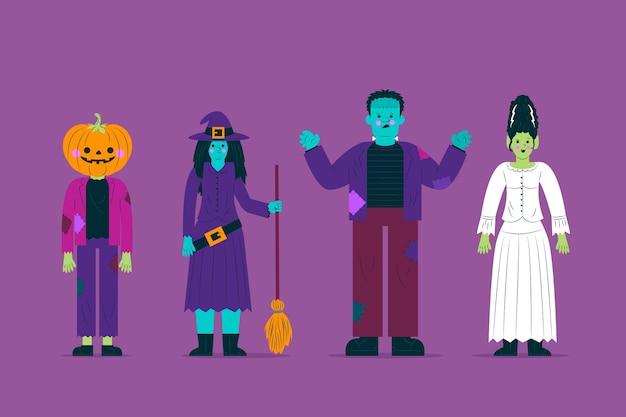 Collezione di personaggi del costume di halloween di vista frontale Vettore gratuito