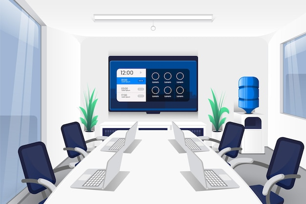 Front view long table for office video conferencing background Free Vector