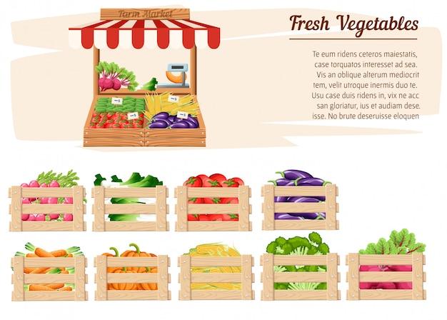 Деревянная подставка, вид спереди, с фермерскими продуктами и овощами в открытой коробке с весами и ценниками с местом для вашей текстовой иллюстрации на белом фоне Premium векторы