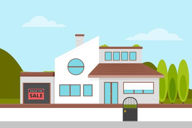 전면보기 현대 주택 판매 및 임대 개념 무료 벡터