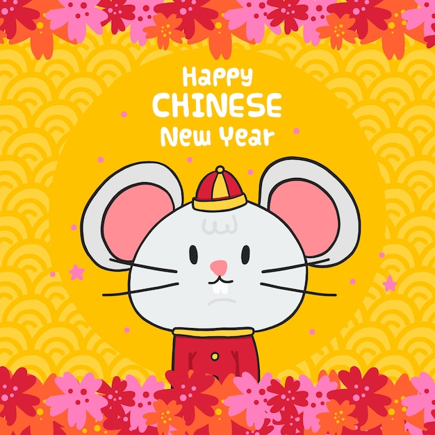Front view mouse in clothes chinese new year Free Vector