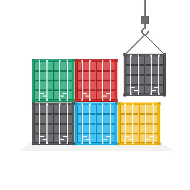 Вид спереди штабеля контейнеров, концепция логистики и транспортировки, иллюстрация. Premium векторы
