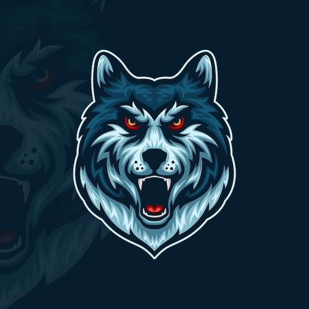 Вид спереди иллюстрации талисмана киберспорта сердитого волка Premium векторы