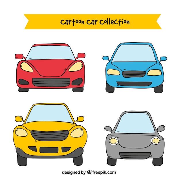 front view of four cartoon cars vector free download